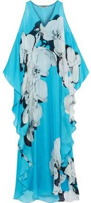 Roberto Cavalli Bead-embellished Floral-print Silk-voile Maxi Dress