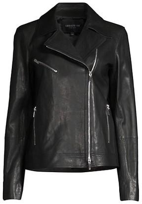 Lafayette 148 New York Aisling Washed Italian Leather Moto Jacket