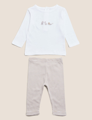 Marks and Spencer 2pc Organic Cotton Embroidered Outfit (7lbs- 12 Mths)