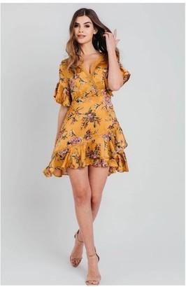 Pretty Darling Mustard Satin Wrap Floral Ruffle Mini Dress