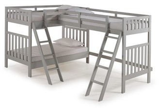 Alaterre Aurora Twin Over Twin Bunk Bed with Third Bunk Extension, Dove Gray