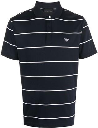 Emporio Armani Striped Embroidered Logo Polo Shirt
