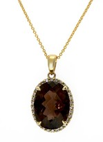 Effy Jewelry Yellow Gold Smokey Quartz and Diamond Pendant, 9.14 TCW