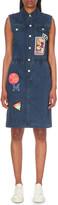 Mo&Co. Sleeveless patch denim dress