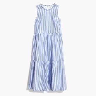 J.Crew Sleeveless tiered midi dress in cotton poplin