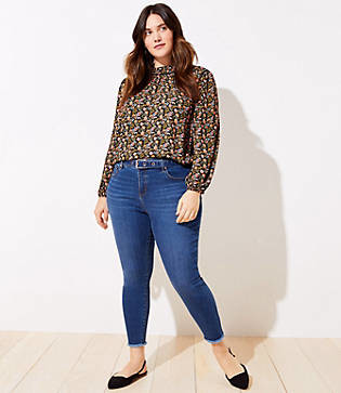 LOFT Plus Belted High Waist Slim Pocket Skinny Jeans in Rich Mid Indigo Wash