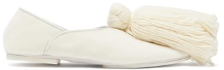 Jil Sander Tassel-trim Velvet Slippers - Womens - White