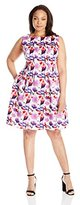 Gabby Skye Women's Plus-Size Floral Printed Fit and Flare Dress