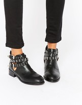 London Rebel Buckle Strap Ankle Boots