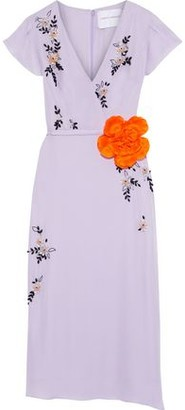 Carolina Herrera Floral-appliqued Silk-chiffon Midi Dress