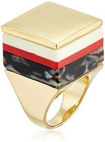 "Trina Turk We'll Take Manhattan"" Multi-Color and Gold Tone Stacked Statement Ring, Size 7"