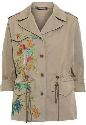 Alberta Ferretti Embroidered Cotton-blend Gabardine Jacket