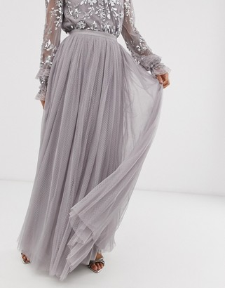 Needle & Thread dotted tulle maxi skirt in gray