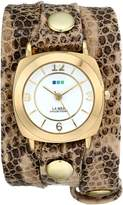 La Mer Women's LMODY3005 Odyssey Wrap Collection Crème Brown Snake Watch