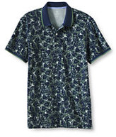 Classic Men's Slim Fit Short Sleeve Print Mesh Polo Shirt-Evening Cobalt Stripe