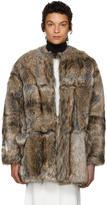 Stella McCartney Grey and Beige Faux-fur Elina Coat