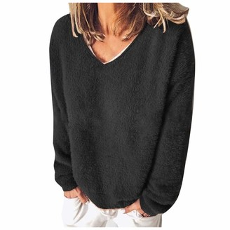 ReooLy Women's Plain Pullover Jumper Oversized Tops Shirts