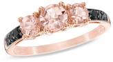 Zales 5.0mm Morganite and 1/10 CT. T.W. Enhanced Black Diamond Three Stone Ring in 10K Rose Gold