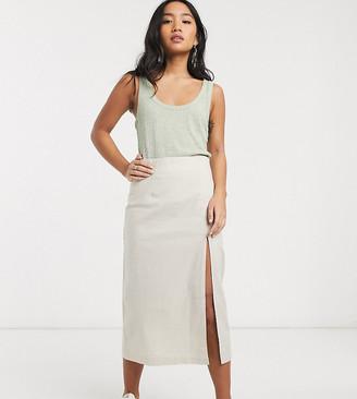 ASOS DESIGN Petite linen split front midi skirt