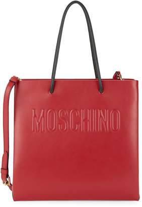 Moschino Logo Leather Tote