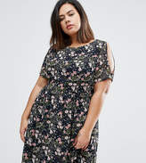 Koko Plus Skater Dress With Cold Shoulder In Floral Print