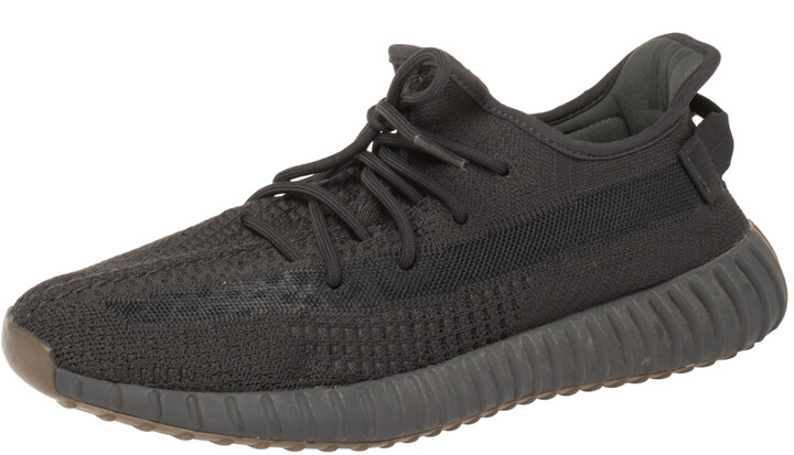 Yeezy x Adidas Black Cotton Knit Boost 350 V2 Static Non Reflective Sneakers Size 46