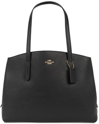 Coach Charlie 40 Black Leather Top Handle Bag