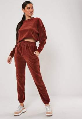 Missguided Rust Co Ord Oversized Velour Cuffed Joggers