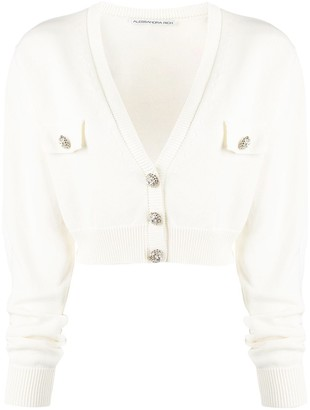 Alessandra Rich Cropped Long-Sleeve Cardigan