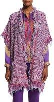 Etro Boucle Fringe Short-Sleeve Cardigan, Purple/Pink