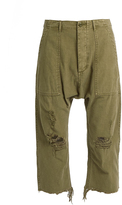 R 13 Distressed dropped-crotch cotton trousers