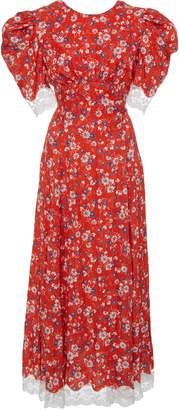Miu Miu Lace-Trimmed Floral Midi Dress