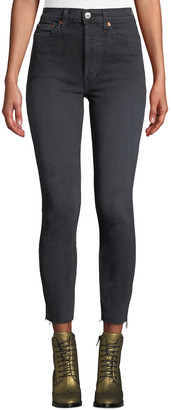 RE/DONE High-Rise Skinny Frayed Ankle Jeans