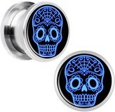 Body Candy Stainless Steel Blue Sugar Skull Screw Fit Plug Pair 34/64""
