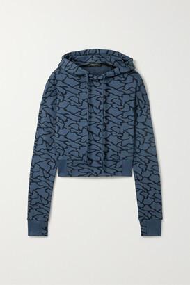 Twenty Montreal Hyper Reality Cropped Cotton-blend Jacquard-knit Hoodie - Blue