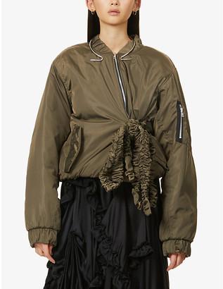 Act N1 Ruffled tie-belt shell bomber jacket
