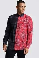 BoohoomanBoohooMAN Mens Black Long Sleeve Spliced Bandana Print Shirt, Black