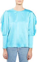Topshop Mutton Sleeve Silk Satin Blouse