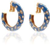 Oscar de la Renta Crystal, Enamel And Gold-Tone Hoop Earrings