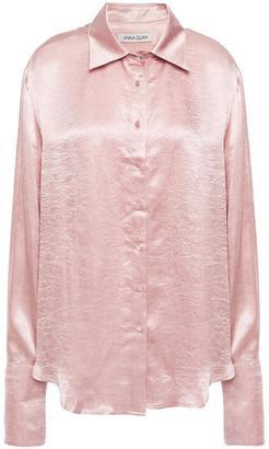 ANNA QUAN Lana Crinkled-satin Shirt