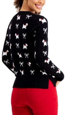 Charter Club Printed Terrier Bow Sweater, Created for Macy's