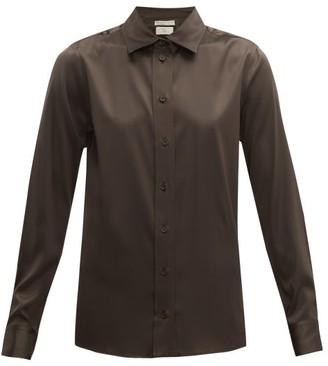 Bottega Veneta Silk-blend Charmeuse Shirt - Womens - Dark Brown