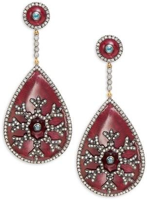 Artisan 18K Yellow Gold, Sterling Silver, Aquamarine & Diamond Drop Earrings