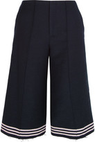 Sea Cropped Striped Wool-blend Felt Wide-leg Pants - Navy