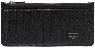 Dolce & Gabbana Black Logo Plaque Grained Leather Zip Cardholder