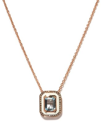 Selim Mouzannar Mina Diamond, Aquamarine & 18kt Rose-gold Necklace - Blue