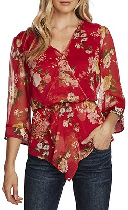 Vince Camuto 3/4 Sleeve Asymmetrical Peplum Cinch Waist Blooms Blouse (Rhubarb) Women's Clothing