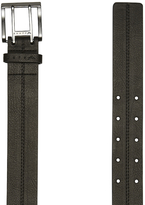 Rusty Mens Black Double Prong Buckle Vinyl Cotton Cutback Belt