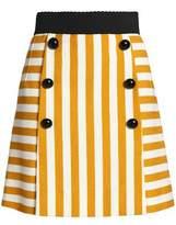Dolce & Gabbana Button-Embellished Striped Stretch-Cotton Mini Skirt