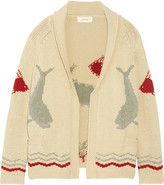 The Great The Fisherman Intarsia Cotton-blend Cardigan - Ecru